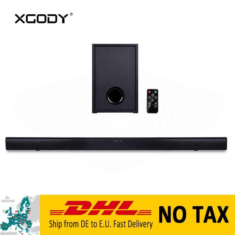 XGODY Bluetooth haut-parleur barre de son pour Home cinéma RCA Coaxial & optique puissant Subwoofer haut-parleur avec télécommande 40 W