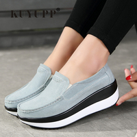 KUYUPP Platform Shoes Woman Flat Shoes Women Flats Slip On Leather Loafers Creepers Breathable Casual Shoes