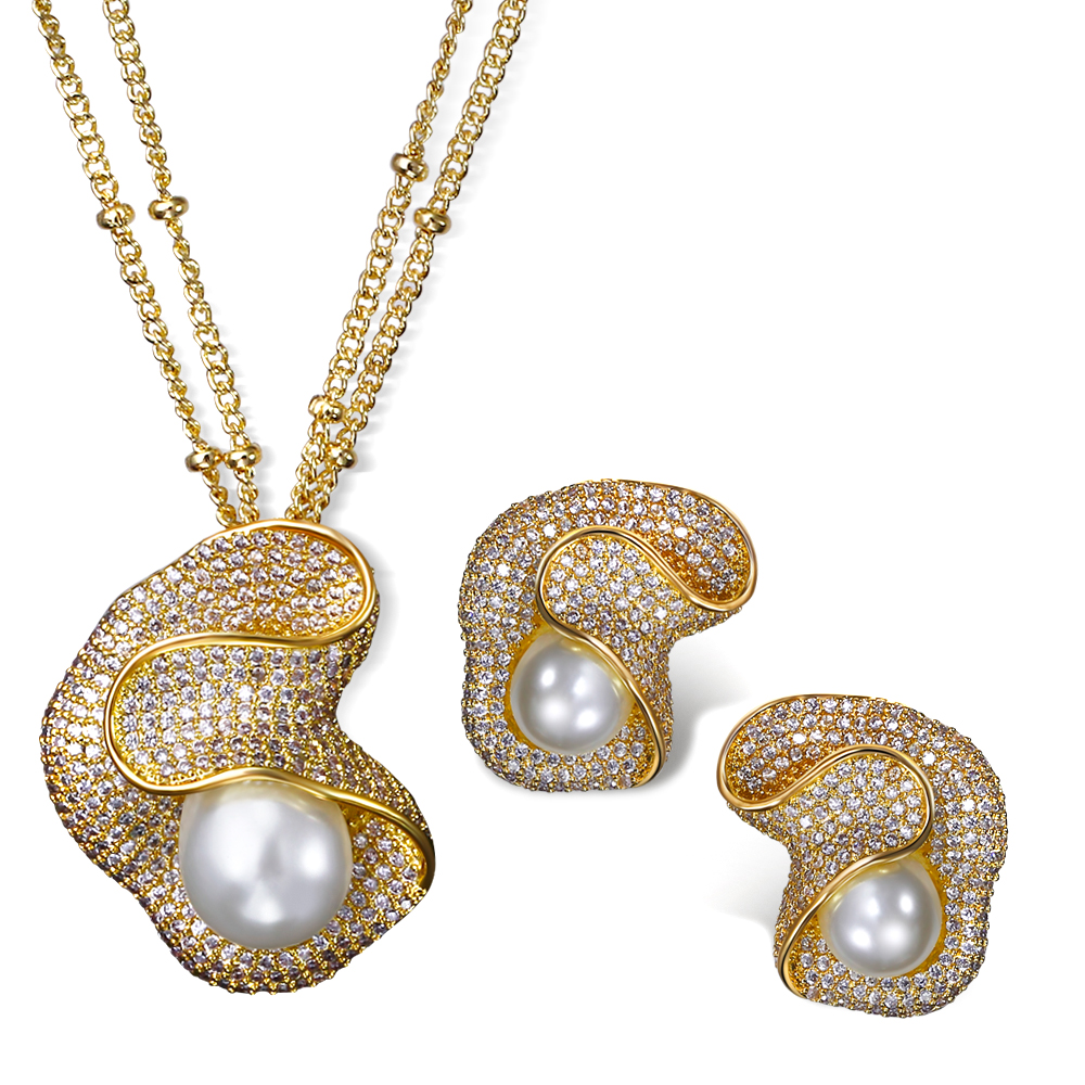 Women wedding Jewelry Sets copper material with CZ stone & Imitation pearl 2pcs sets ( necklace + earrings ) Free shipment