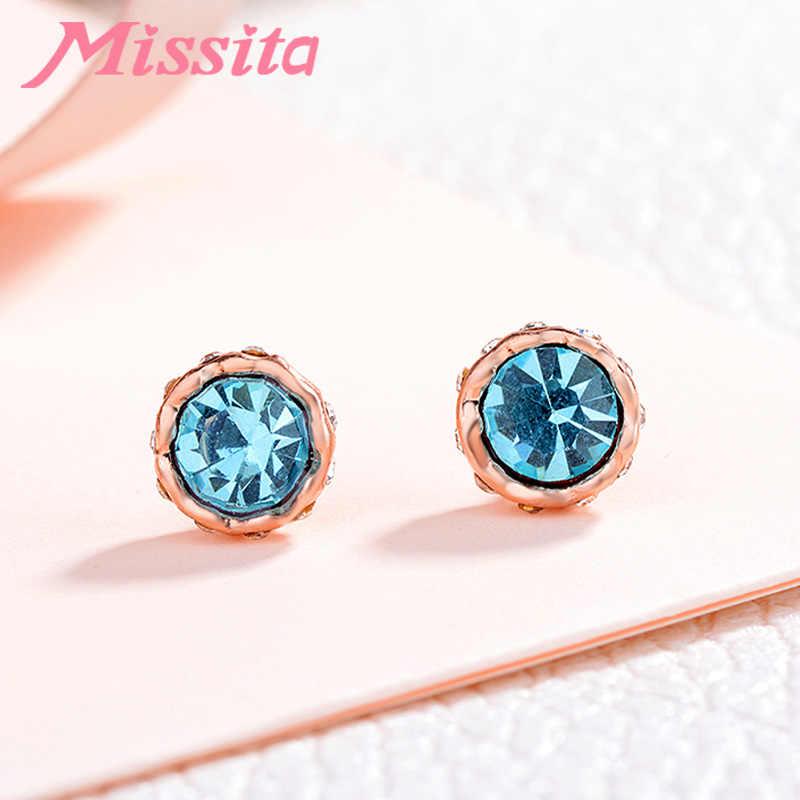 MISSITA Romantic Blue Snow Lotus Brincos Azul Claro CZ Para As Mulheres Marca de Jóias de Prata Do Parafuso Prisioneiro Do Presente Do Partido Venda Quente