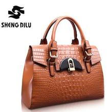 2015 Vintage Crocodile Pattern Tote Bag Women s Genuine Leather Handbags The Trend Of Fashion Bag
