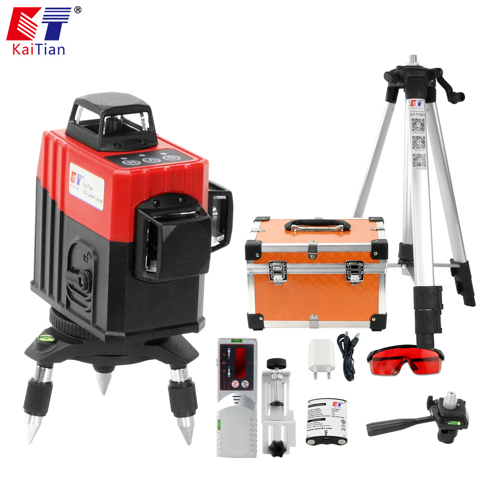 Kaitian 3D Laser Level 360 Nivel Laser 12 Lines Lazer Level 3D Tripod 5/8 Construction Tool with Receiver Bracket Building Tools kaitian green laser level 12 lines 3d nivel laser line 360 rotary construction tools tripod 5 8 receiver bracket for lazer level