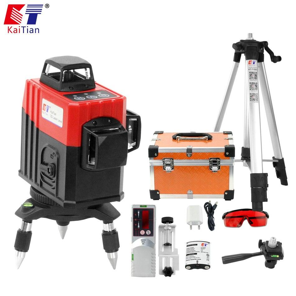 Kaitian 3D Laser Niveau 360 Nivel Laser 12 Lignes Lazer Niveau 3D Trépied 5/8 Construction Outil avec Récepteur Support Bâtiment outils