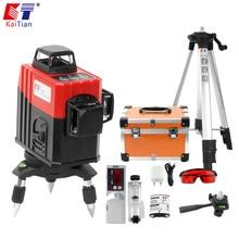 Kaitian 3D лазерный уровень 360 Nivel лазер 12 линий Lazer уровень 3D штатив 5/8 строительный инструмент с кронштейн для приемника строительные инструменты