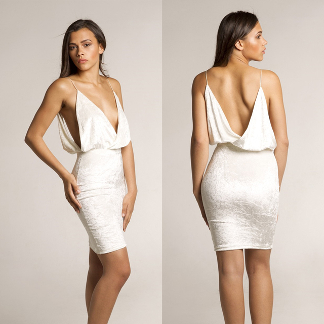 Women velvet dress white Spaghetti Strap Hollow out Pleated Dress Party deep  V-neck Sexy f68fe4772