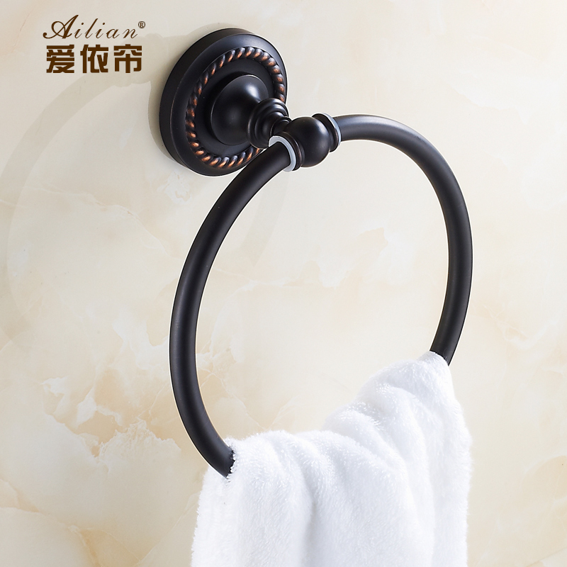 Luxury home decor retro classic European Towel ring full of copper bronze ceramic printing towel ring