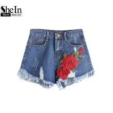Shein джинсовые шорты женские летние случайные шорты женские mid талии молния муха разорвал аппликации изношенные хем denim шорты(China (Mainland))