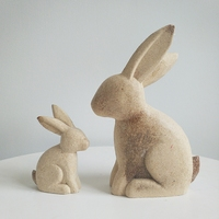 SET Wood do old rabbit furnishing rough materials rough blank white embryos diy animal painting manual painting sculptures room