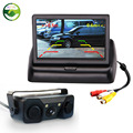 3 in 1 Sound Alarm CCD Car Reverse Backup LED Rear View Parking Camera Sensor Monitor + 4.3 inch LCD Car Video Foldable Monitor
