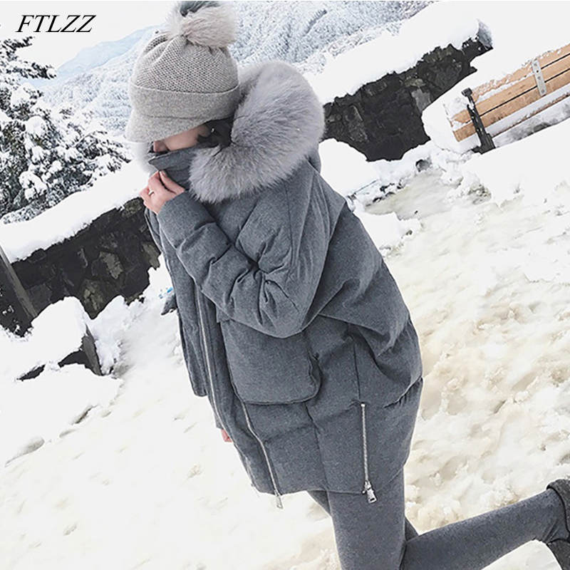 FTLZZ Winter 90% White Duck   Down   Parkas Women Real Fur Collar Slim Hooded Gray Jackets Female Warm Snow   Down     Coat
