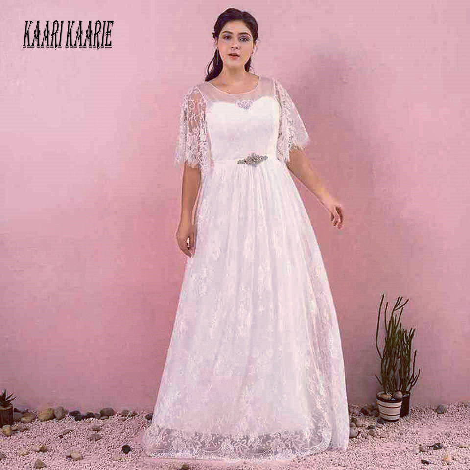 Elegant Plus Size White Evening Dresses Long 2019 Formal Evening Gowns Scoop Lace Zipper A Line New Ivory Woman Party Dress Prom