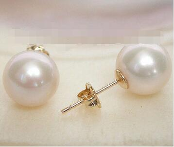 Gratuite>>>> new hot AAA Naturel 8.5mm parfait rond blanc perles Boucle D'oreille 14 K solide or post
