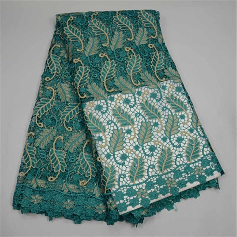 Tissus de dentelle africaine guipure dernière conception aqua cordon dentelle tissu handcut tissu avec trou bon vente tissu