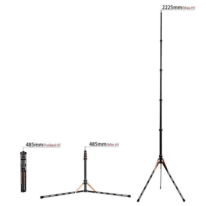 Fosoto FT-220 soporte de trípode de luz Led de fibra de carbono y 2 cabeza de tornillos para estudio fotográfico iluminación Flash paraguas Reflector - 4