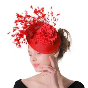 Image 2 - Rouge imitation Sinamay Fascinator chapeaux femmes mariée imitation événement Occasion chapeau pour Kentucky Derby église mariage fête course