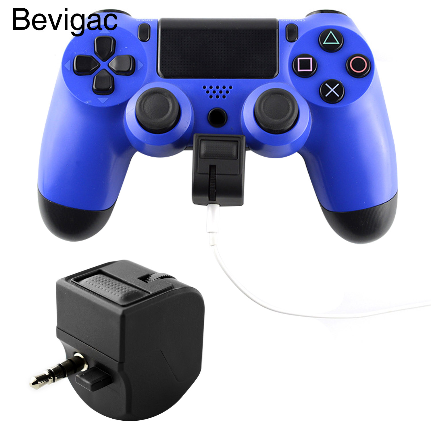 Bevigac 3.5mm Headphone Earphones Adapter w/Microphone Earphone Volume Control for <font><b>Sony</b></font> PlayStation 4 <font><b>PS4</b></font> Slim Pro Controller <font><b>VR</b></font> image