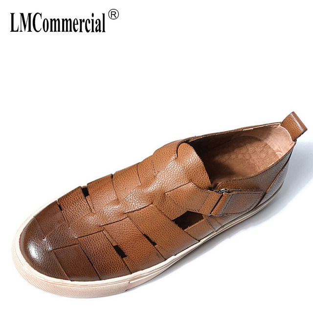 4047115dee8193 summer new Genuine Leather sandals Sneakers Men Slippers Flip Flops casual  Shoes beach outdoor all-match cowhide Leisure shoes