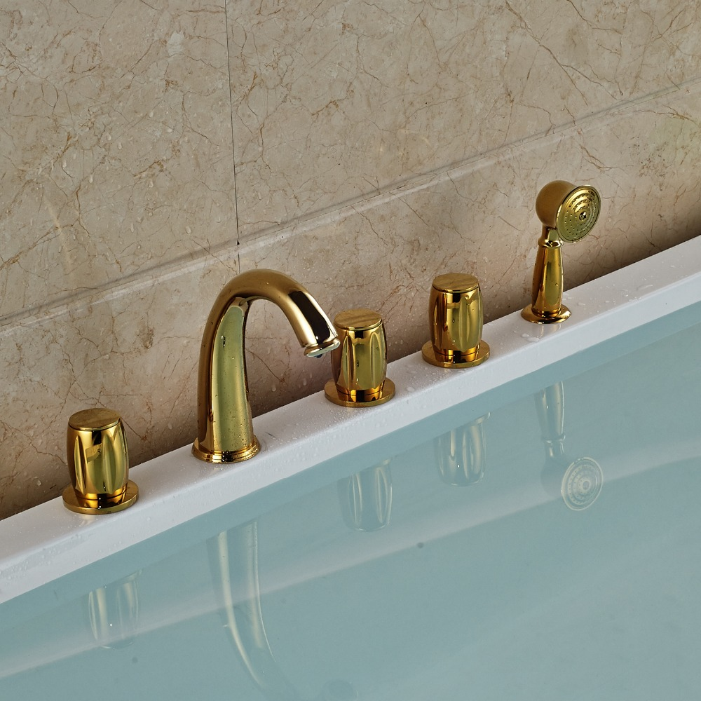 Gold Finished Deck Mounted Widespread 5pcs Bathtub Faucet With Brass Hand Shower deck mounted 5pcs widespread bathroom tub faucet with hand shower nickel brushed finished