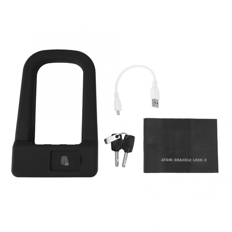 Theft Protection ROCKBROS FU1BK U Shape Charging Fingerprint Bicycle Lock With 2Pcs Keys Motorcycle Protection Accessories
