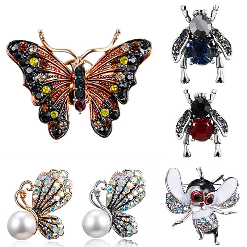43586d97b62 Fashion Animal Butterfly Simulated Pearl Bee Pin Brooch Antique Pin Women Brooch  Pin Costume Jewelry Bee
