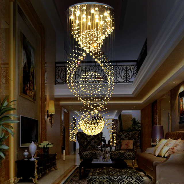 Crystal Chandelier Luxury Ceiling Spiral Flush Mount Res De Sala Cristal Chandeliers