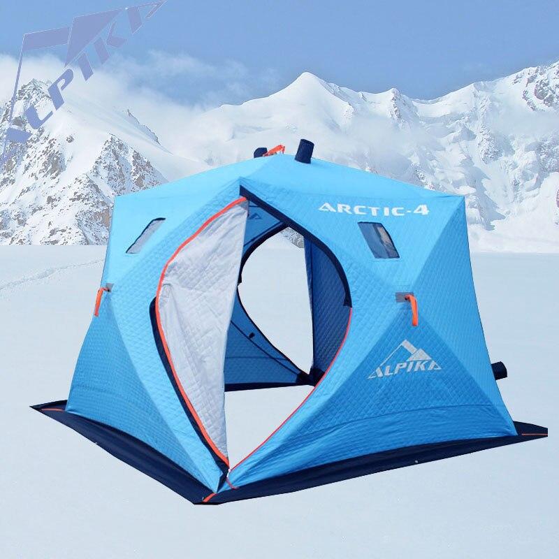 Grand espace 5-6 personnes glace de pêche tente et trois couches de chaud oxford hiver coton tente automatique vitesse tente