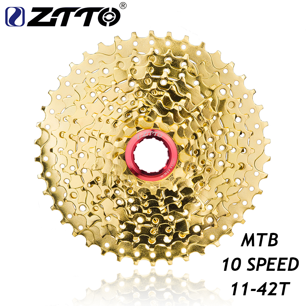 ZTTO 11-42T 10 Speed Wide Ratio MTB Mountain Bike Bicycle Gold Golden Cassette Sprockets for Shimano m6000 m610 m675 m780 SRAM shimano acera fc m391 27s travel bicycle crane chain plate accessories mtb mountain bike sprockets accessories 48 36 26t
