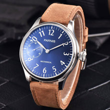 44mm Parnis Blue Dial Luminous Marks Silver Hands Leather strap 6497 Hands Winding Men's Watch все цены