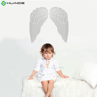 Princess Girl Bedroom Wall Decal White Angel Wings Vinyl Wall Stickers For Kids Room Baby Nursery Room Decor Mural A527