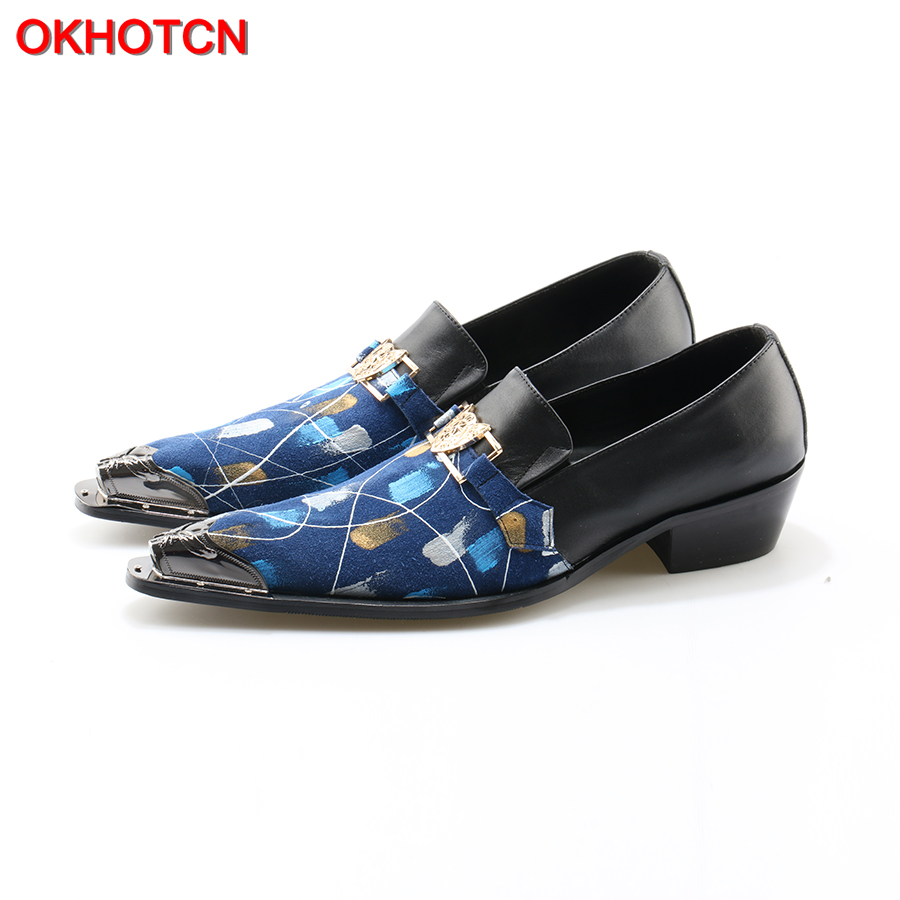 OKHOTCN New Mens Wedding Dress Shoes Cow Leather Mixed Colors Pointed Toe Shoes Gold Hasp Breathable Fashion causal Shoes Flats