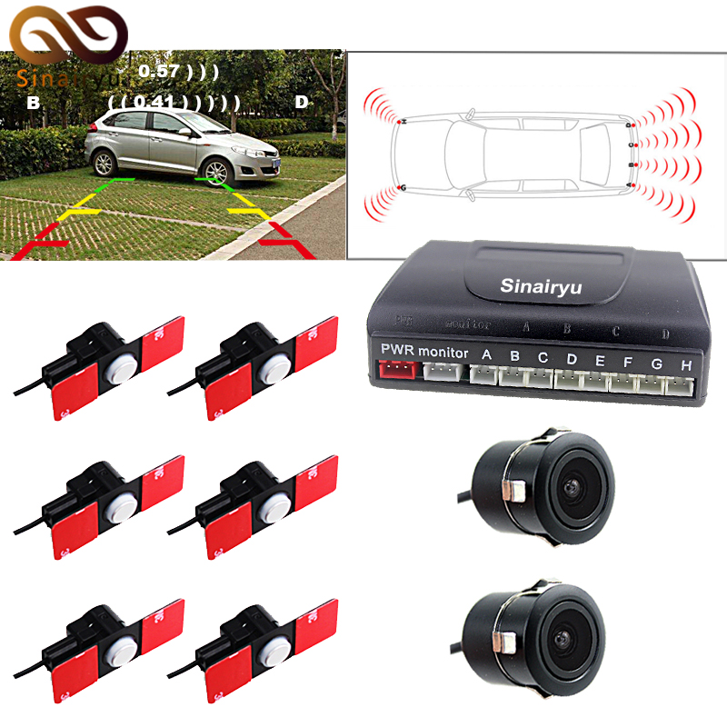 Sinairyu Dual Channel Car Video Parking Sensor Camera Radar Detector System with 6PCS 16MM Flat Sensors and 2 Cameras Buzzer