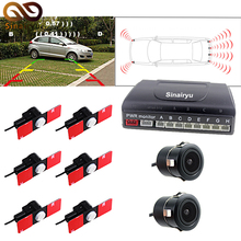 Sinairyu Twin Channel Automobile Video Parking Sensor Digicam Radar Detector System with 6PCS 16MM Flat Sensors and a couple of Cameras Buzzer