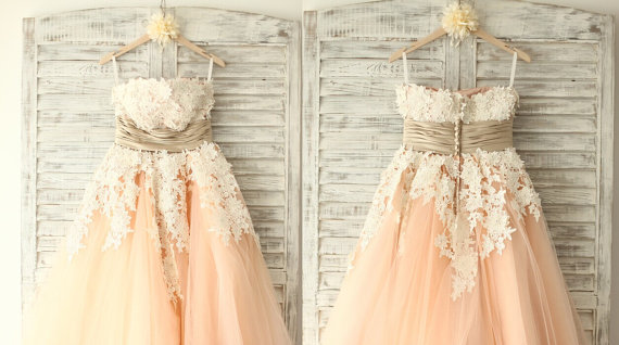 Aliexpress.com : Buy Vintage Retro Strapless Champagne Peach Tulle ...