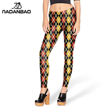2016 New design Yellow Red TARTAN Printed leggins for Women leggings KDK1450