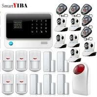 SmartYIBA SMS Звонок App предупреждение Android IOS Управление охранной сигнализации Wi Fi камеры мерцающий сирена охранной дверь открытой Напоминание с