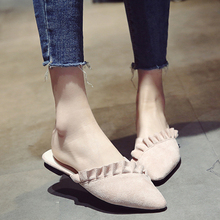 Women's Slides Pointed Toe Flat Low Heels Slippers 2017 New Brand Ruffles Outsides Casual Shoes Woman Slides