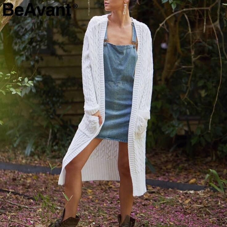 BeAvant Knitted Long Cardigan Sweater Women Jumper 2018 Long Sleeve White Cardigan Femme Casual Button Pocket Warm Sweater Shirt