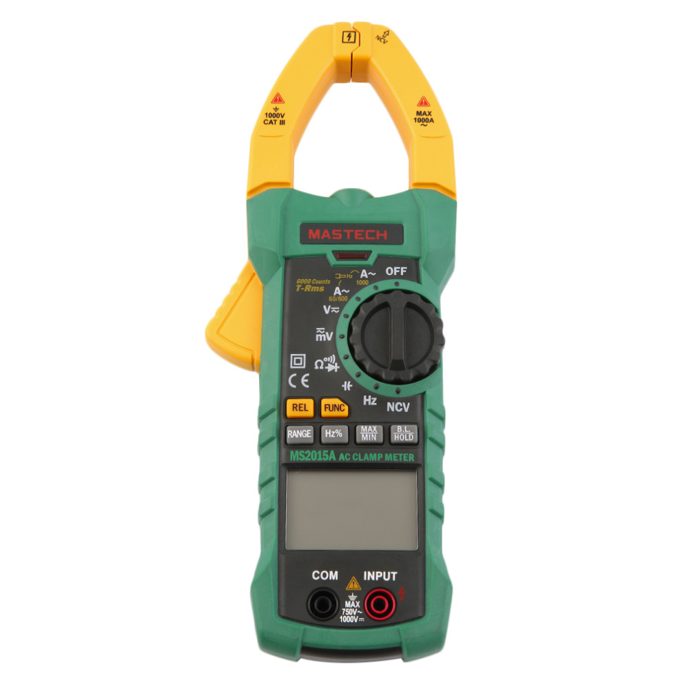 MASTECH MS2015A AutoRange Digital AC 1000A Current Clamp Meter True RMS Multimeter Frequency Capacitance Tester NCV mastech ms2115b true rms digital clamp meter multimeter dc ac voltage current ohm capacitance frequency tester with usb