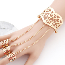 Fashion Openwork Flower Bell Bracelet for women Gold Silver Multilayer Chain Finger Set Jewelry Gift