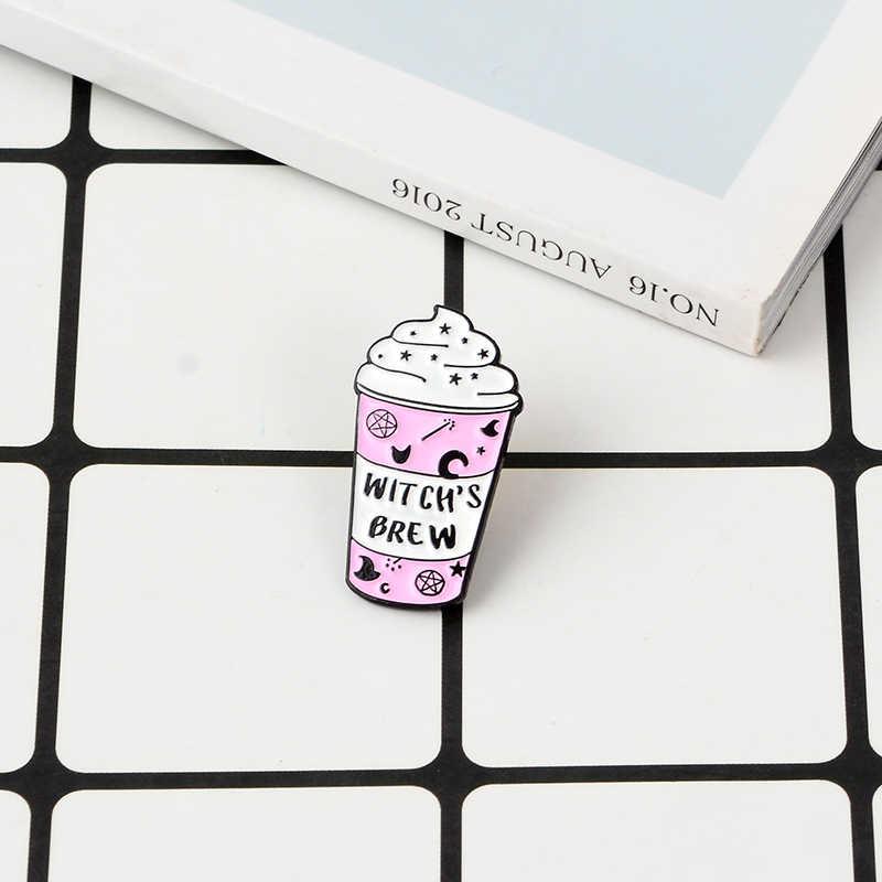 """Звезда чашки мороженого булавка """"ведьма пивоварня"""" палочка шляпа пентаграмма Луна эмаль броши ведьмы отворот булавки колдовские украшения подарок"""
