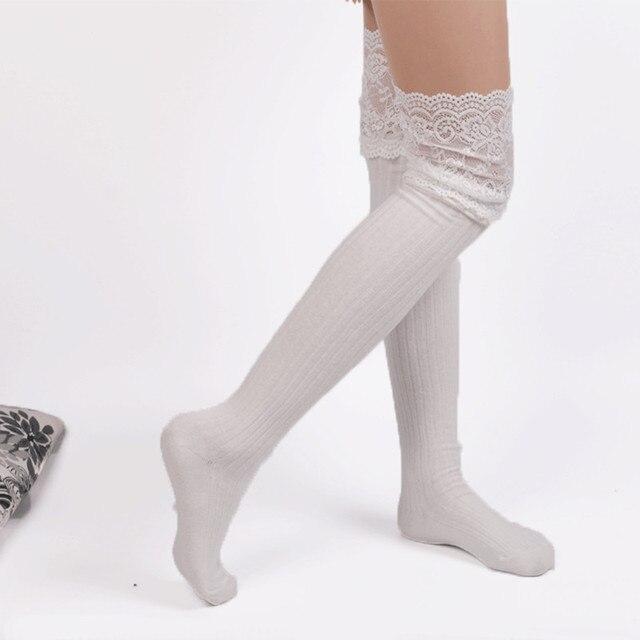 1 para Frauen Mode Knie Socken Häkeln Gestrickte Spitze Boot ...