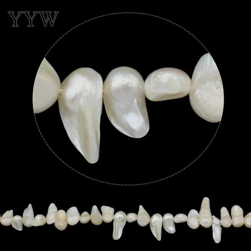 Keishi Süßwasser-zuchtperlen-korn für die diy Schmuck Armband halskette natürlichen, weiß, 10-28mm Ca. 15,7 Zoll Strang
