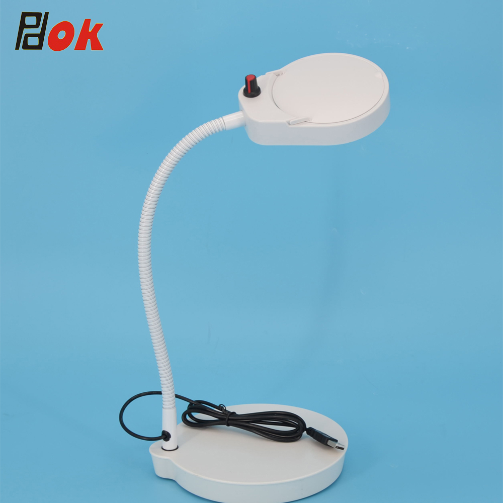 8x15x  3x10x  5x 100mm Lens Table Led Light Adjustable Magnifier Lamp With Flexible Metal Hose For Nail And Embroidery Magnify
