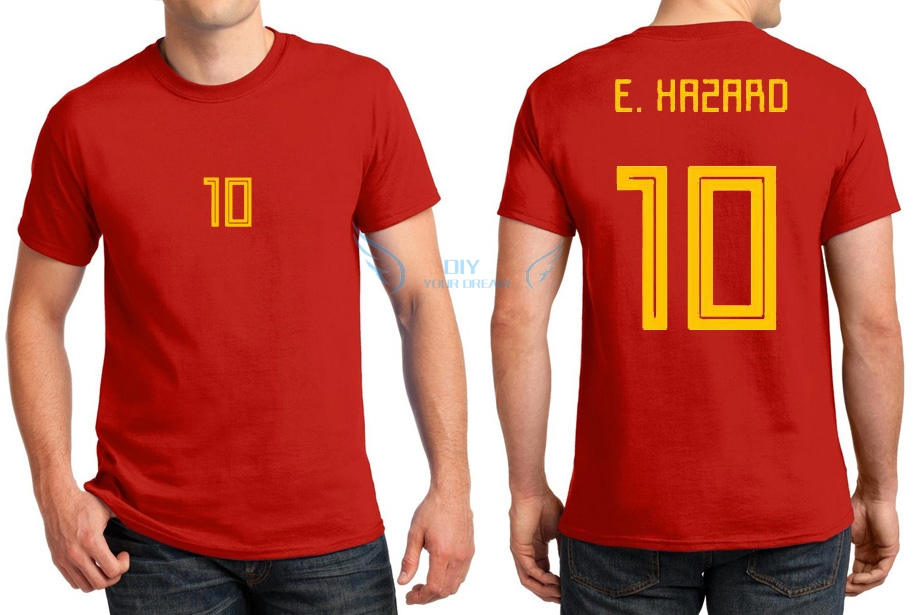 online store b122d 16cc0 US $12.59 10% OFF|Hot 2018 Printed for name T shirt Eden Hazard 10 red  yellow t shirt for Belgium fans gift 0322 1-in T-Shirts from Men's Clothing  on ...