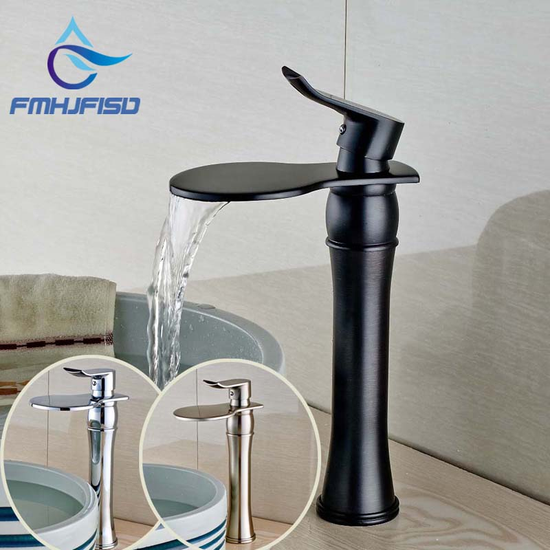 Polished Chrome Basin Hot Cold Faucet Round Waterfall Bathroom Basin Faucet Vanity Sink Mixer Tap