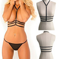 Fancy Sexy Women Goth Lingerie Elastic Harness Cage Bra 90's Cupless Intimates Bondage harness Belt Tops Corset Femme L3