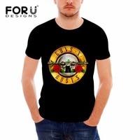 FORUDESIGNS Gun N Rose Men T Shirt Tee Men Black Tshirts Men S Shirt Cool Skull