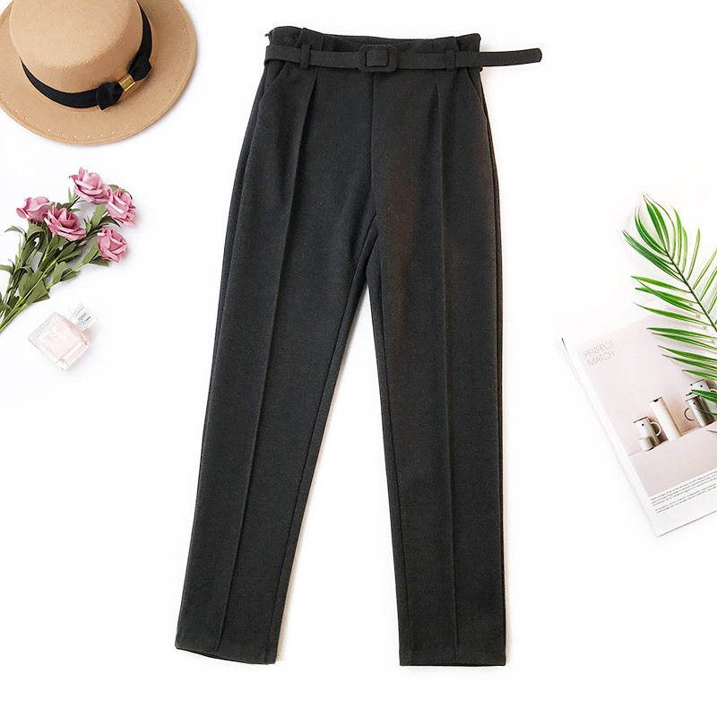Elegant Sashes Women's Pants 18 Autumn Winter Solid High Waist Pockets Harem Pants Harajuku Fitness Office Lady Trousers Femme 14