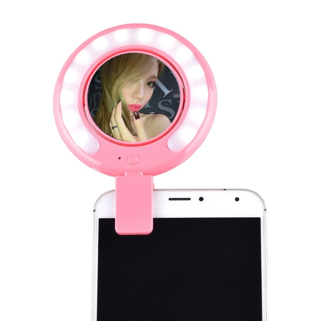 2016 Mini Smartphone Selfie LED Light Portable Round Ring Build-in Battery Flash w/ Mirror for Casio iPhone Samsung HTC Phone