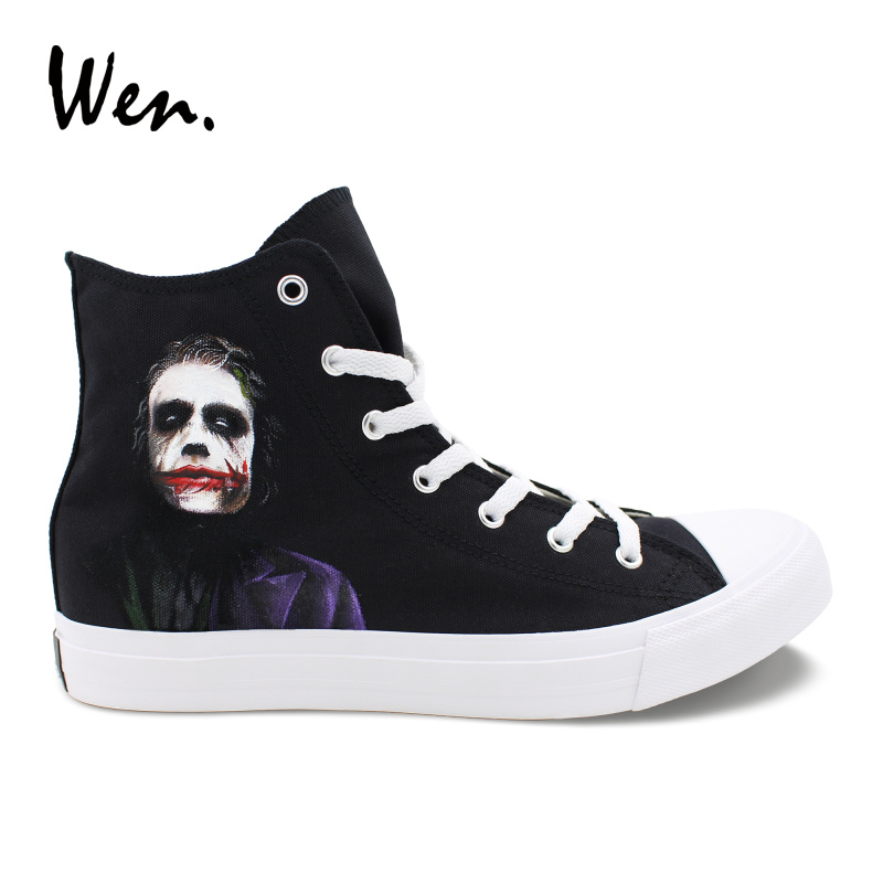 Wen Custom Hand Painted Design Shoes Joker High Top Men Women's Canvas Sneakers Boy Girl Black Skateboarding Shoes трекинговая палатка rockland pipe 3